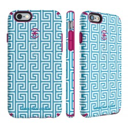 Калъф Speck CandyShell Johnatan Adler за iPhone 6/6S - Aqua Greek Key/ Lipstick Matte