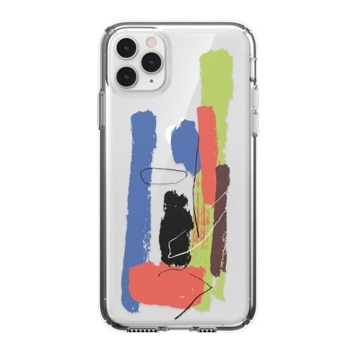 Калъф Speck iPhone 11 Presidio Clear + Print за Pro Max - Paintsplatter Blue/Clear