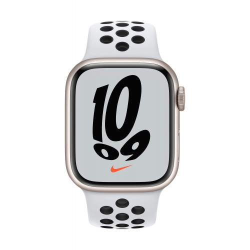 Часовник Apple Watch Nike Series 7 GPS Sport Band 41mm, Starlight Pure Platinum/Black