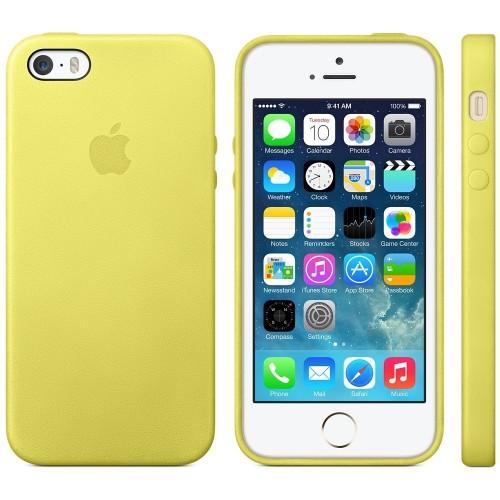 Калъф Apple Leather Case за iPhone SE (5S)-Yellow