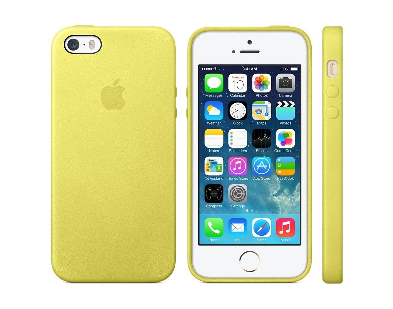 Калъф Apple Leather Case за iPhone SE (5S)- Yellow