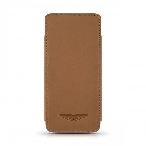 Кожен калъф ASTON MARTIN Slim TP за iPhone SE (5S) - Camel
