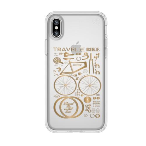 Калъф Speck Presidio Clear Print за iPhone X - CityBike Metallic Gold Yellow