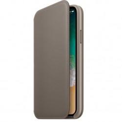 Калъф Apple iPhone X Leather Folio - Taupe