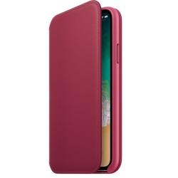Калъф Apple iPhone X Leather Folio - Berry