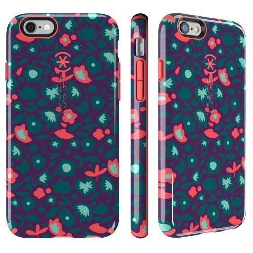 Калъф Speck CandyShell Inked за iPhone 6/6S - Kurbits Floral Teal/ Warning Orange