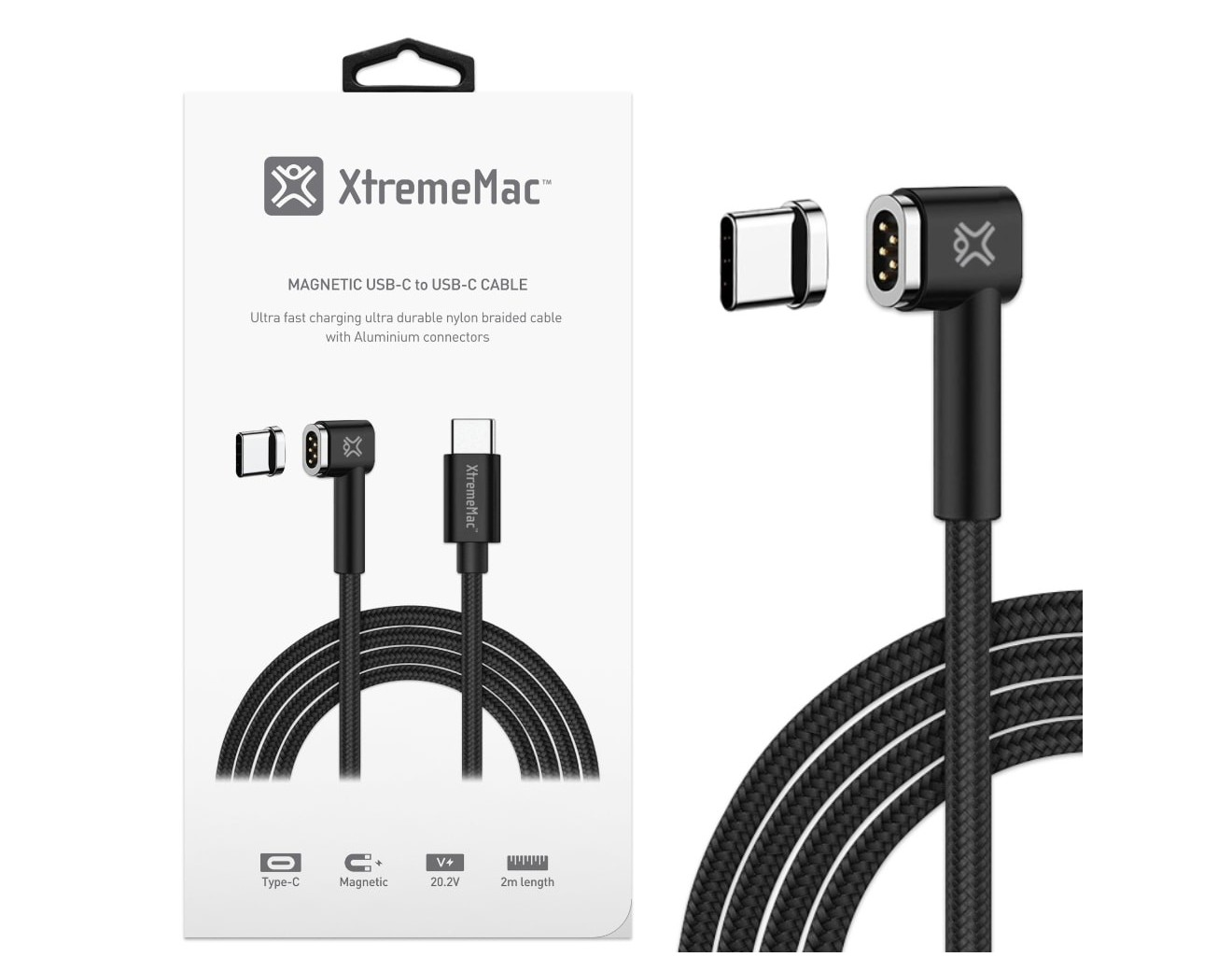 Кабел XtremeMac Magnetic USB-C to USB-C Cable - 2m - Black