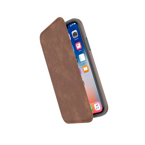 Калъф Speck Presidio Folio Leather iPhone X Case - Saddle Brown/Light Graphite Grey