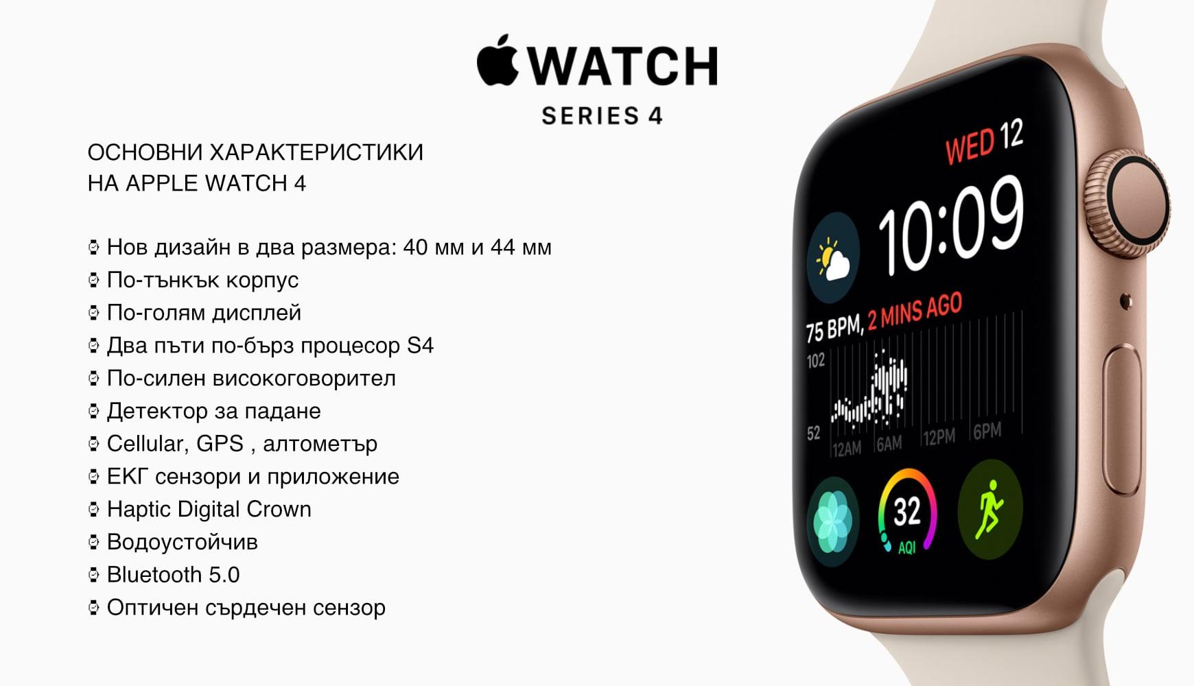 Новият Apple Watch 4 charcteristics